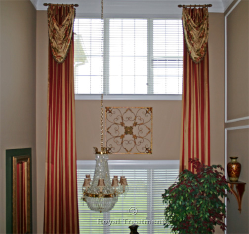 Draperies curtains roman shades royal treatments for 2 story window treatments